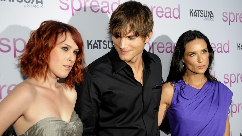 Ashton kutcher and girls at movie spread
