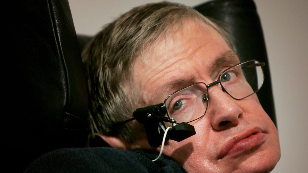 Stephen Hawking giving a speech in 2007