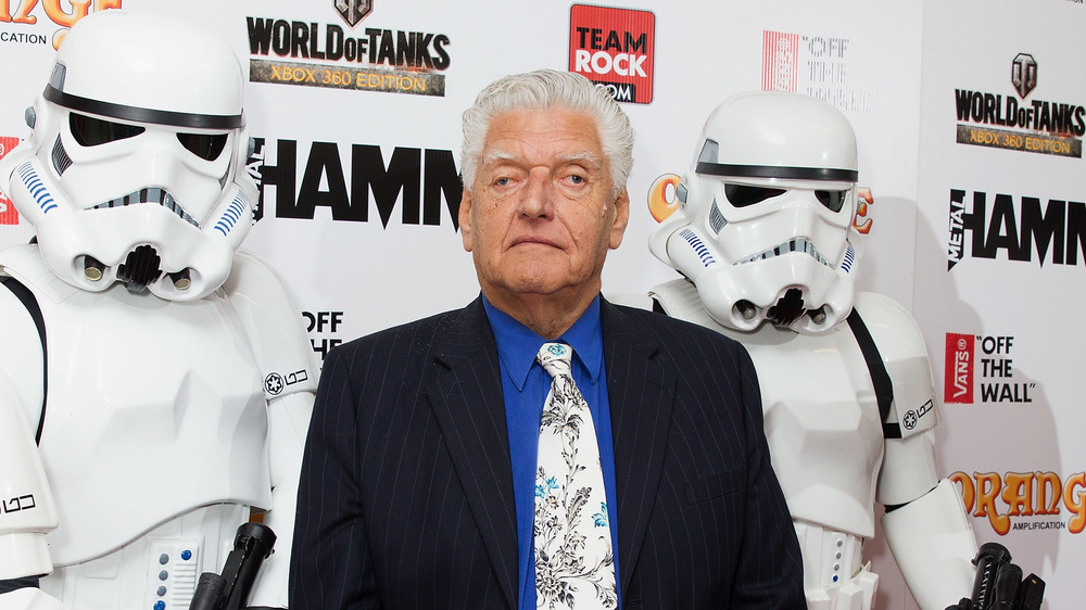 Dave Prowse aka Darth Vader standing next to a stormtrooper attending the 2014 Metal Hammer Golden Gods Awards