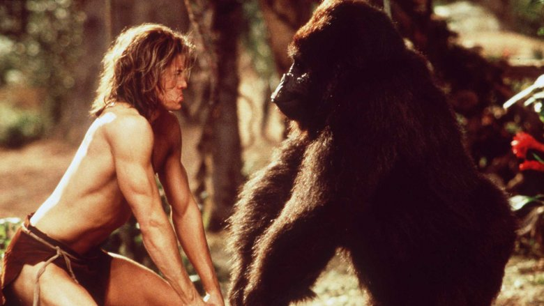 Brendan Fraser and friend in George of the Jungle