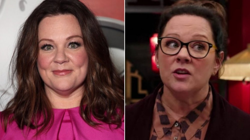 Split image of Melissa McCarthy at the Ghostbusters premiere, and as Abby Yates in Ghostbusters