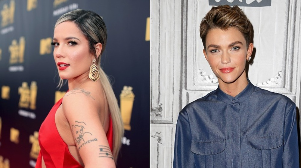 Halsey looking over her shoulder (left), Ruby Rose smirking (right)